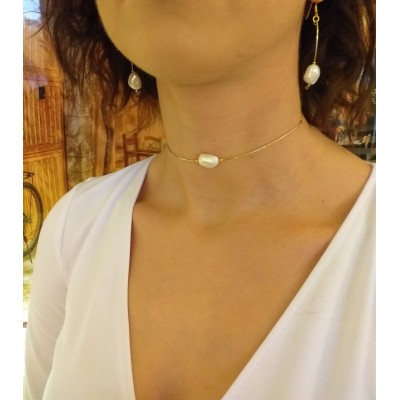 Necklace with real white baroque pearls choker type 34 cm PNP02