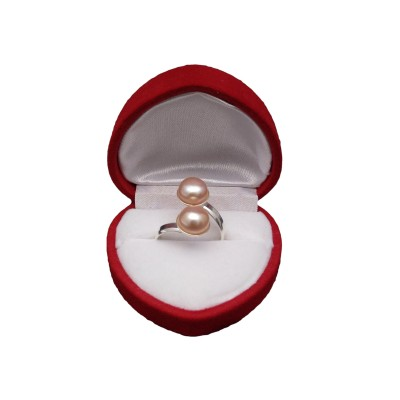Ring with two pink pearls PPi05-2