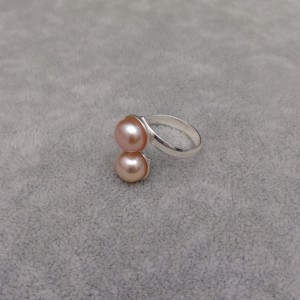 Ring with two pink pearls 8 mm with adjustable size PPi05-2