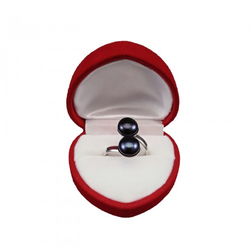 Ring with two purple 8 mm pearls with adjustable size PPi05-2B