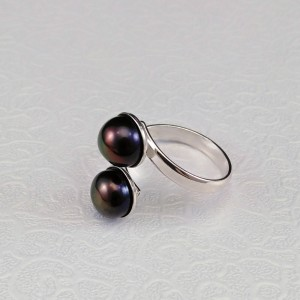 Ring with two brown 8 mm pearls with adjustable size PPi05-2C