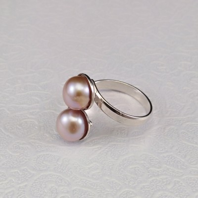 Ring with two blue roses 8 mm pearls with adjustable size PPi05-2D