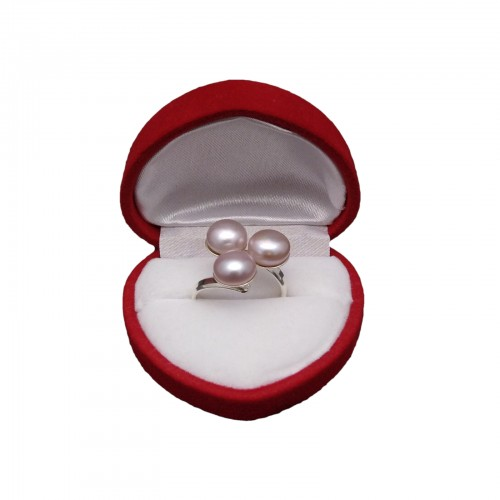 Ring with three silver pink 8mm pearls with size adjustment PPi05-3