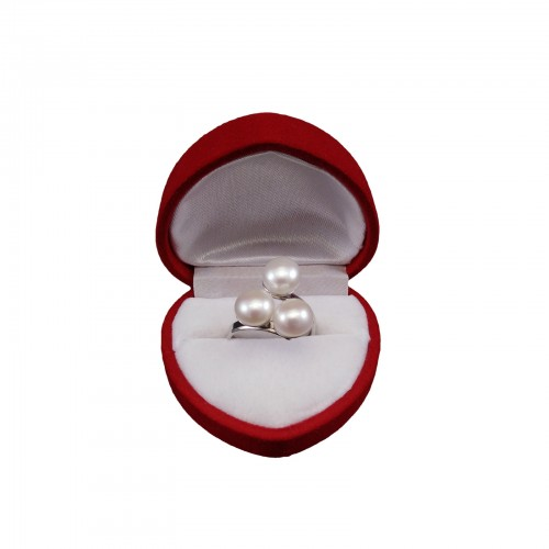 Ring with three white 8 mm pearls with adjustable size PPi05-3A