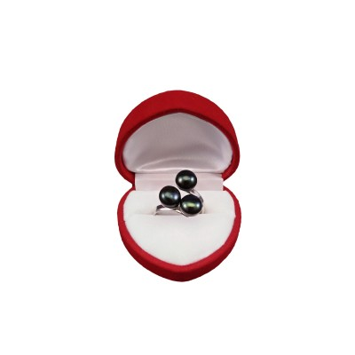 Ring with three green 8 mm pearls with adjustable size PPi05-3B