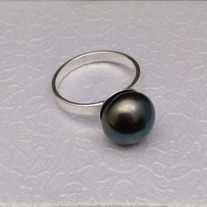 Ring with real graphite pearl 12 mm PPi19-B