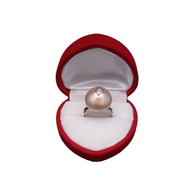 Decorative silver ring with real pearl, pink 15 mm PPi21-2