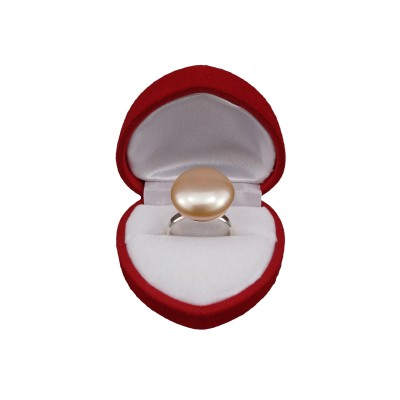 Ring with a flat pink pearl 16 - 17 mm PPi21