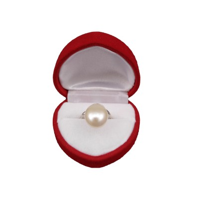 Ring with a real white pearl in the shape of a teardrop 11.5 mm PPi35-1