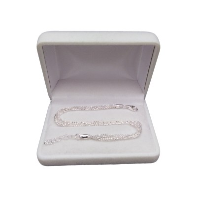 Elegant silver bracelet with a ball weave 17 cm SB12
