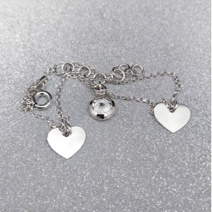 Silver bracelet celebrity with zircon and hearts 17 cm SBC14