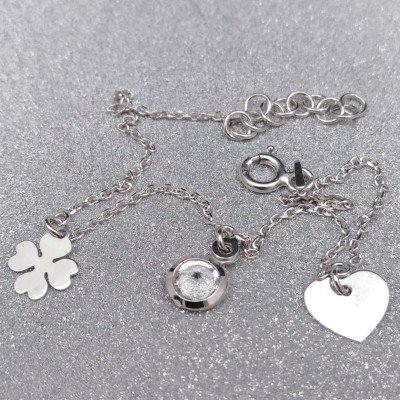Silver bracelet celebrity with zircon, heart and clover 17 cm SBC15