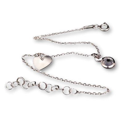 Silver bracelet celebrity with zircon and heart 17 cm SBC16