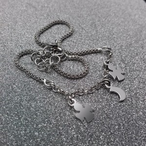 Bracelet silver moon and two angels celebrity 17 cm SBC17M