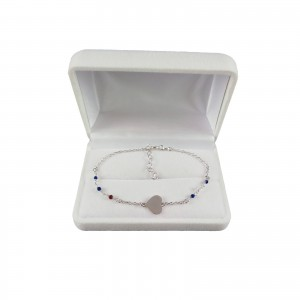 Silver bracelet celebrity heart with colorful beads 16 cm SBC19