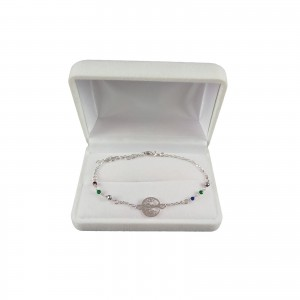 Silver bracelet celebrity the tree of happiness with colorful beads 16.5 cm SBC20