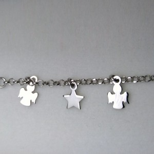 Bracelet silver star and two angels celebrity 17 cm SBC21M
