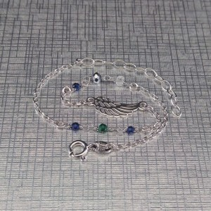 Silver bracelet celebrity wing with colorful beads 17 cm SBC22