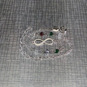 Silver bracelet celebrity infinity with colorful beads 17cm SBC24