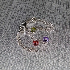 Silver bracelet with colorful beads 17 cm SBC28