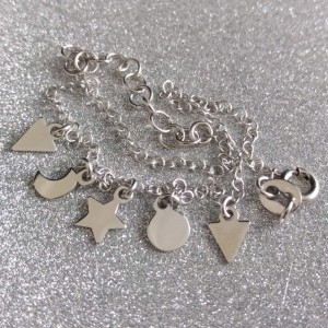 Silver bracelet two triangles, star, moon, circles celebrity 17 cm SBC33M
