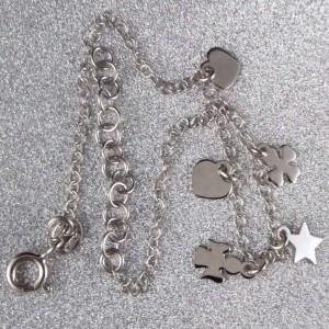 Bracelet silver heart, star, clover, angel celebrity 17 cm SBC35M