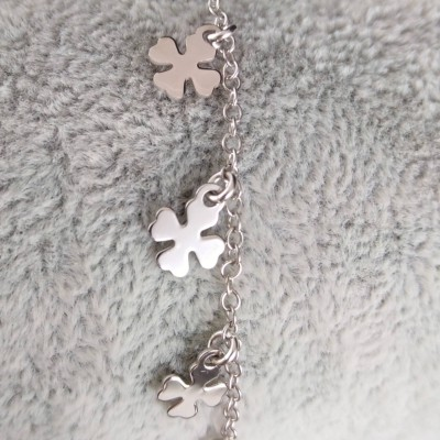 Silver bracelet with clover celebrity 17 cm SBC37M