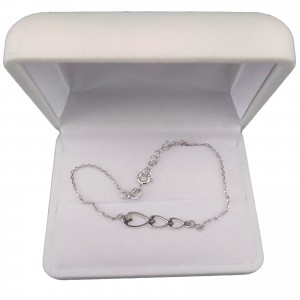 Silver bracelet three hearts celebrity 17 cm SBC39M