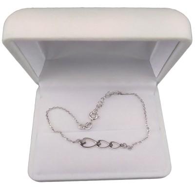 Silver bracelet three hearts celebrity 17 cm SBC39M