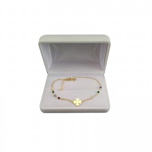 Silver bracelet, gold-plated celebrity clover with colorful beads 16 cm SBPC10