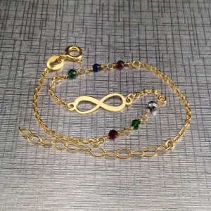 Silver gilded celebrity infinity bracelet with colorful beads 17 cm SBPC11