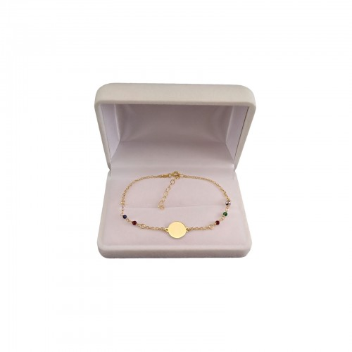 Gold plated bracelet, celebrity shield with colorful beads 17 cm SBPC12