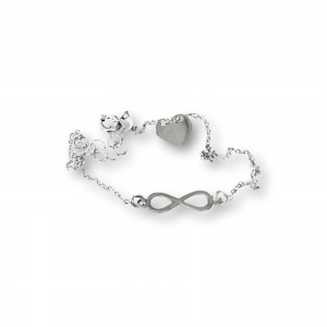 Silver bracelet celebrity infinity and heart 18 cm SBC07
