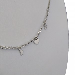 Silver heart chain, two feet 42 cm SLC13M