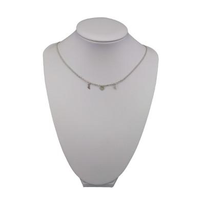 Silver heart chain, two feet 42 cm SLC13M