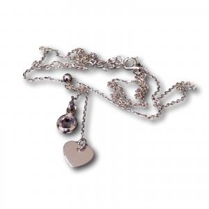 Silver chain celebrity with heart and zircon 42 cm SLC14