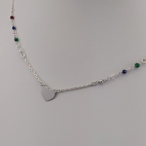 Silver chain celebrity heart with colorful beads 41.5 cm SLC19