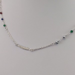 Silver chain celebrity feather with colorful beads 42 cm SLC21