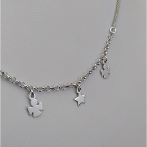 Silver chain with star, two angels 41 cm SLC21M