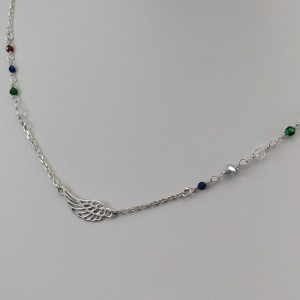 Silver chain celebrity wing with colorful beads 42 cm SLC22