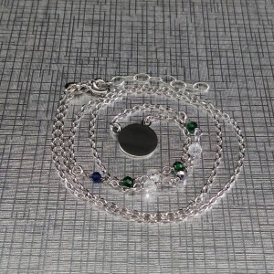 Silver chain celebrity shield with beads 42 cm SLC27