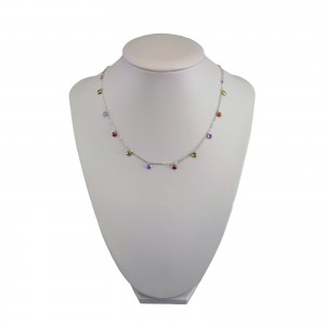 Silver necklace with colorful beads 42 cm SLC28