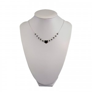 Silver chain celebrity heart with black beads 43 cm SLC41