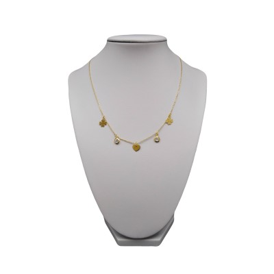 Gold-plated silver necklace with clover hearts and zircon 43 cm SLPC08
