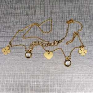 Gold-plated silver necklace with clover hearts and zircon SLPC08