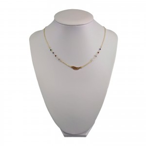 Gold plated chain celebrity wing with colorful beads 42 cm SLPC09
