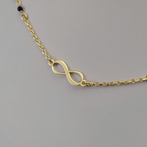 Gold plated celebrity chain infinity with colorful beads 42 cm SLPC11