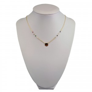 Gold plated chain celebrity shield with beads 41 cm SLPC12