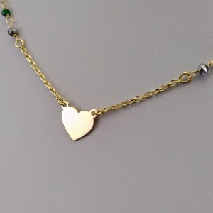 Gold plated celebrity heart chain with colorful beads 42 cm SLPC15