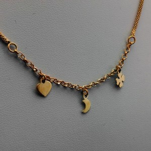 Silver necklace with gold plated clover, heart, moon 42 cm SLPC16M
